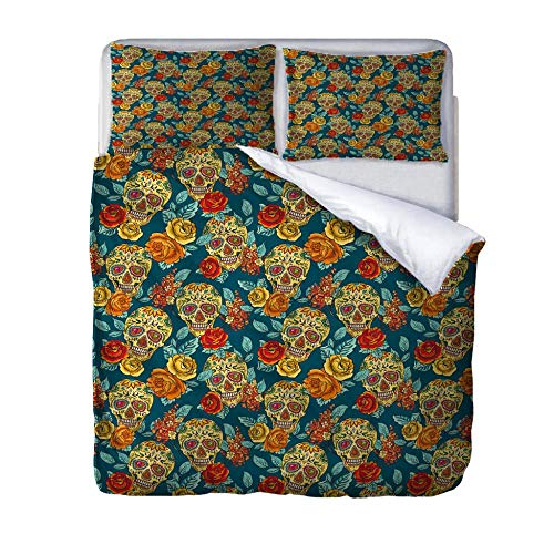 HLLIZ Super Size Duvet Cover Set,Skull flowers Bedding Set With Zipper Closure, Microfiber Bedding 1 Quilt Cover With 2 Pillowcases For Kids And Teens Adults, 260 cm W X 240 cm H