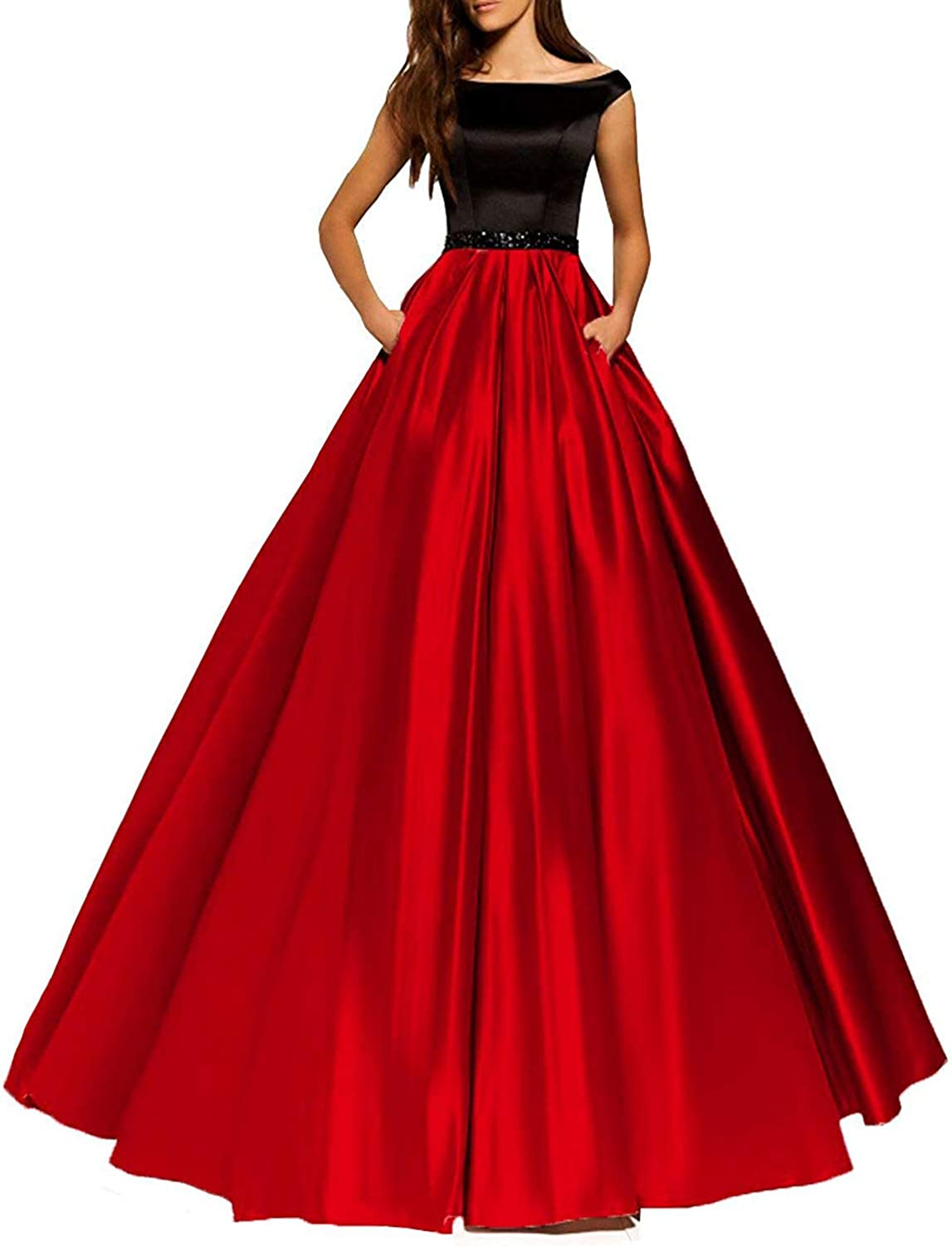 JoyVany Women Off Shoulder Prom Dresses 2019 Long Formal Evening Party Gowns with Pockets JP0043