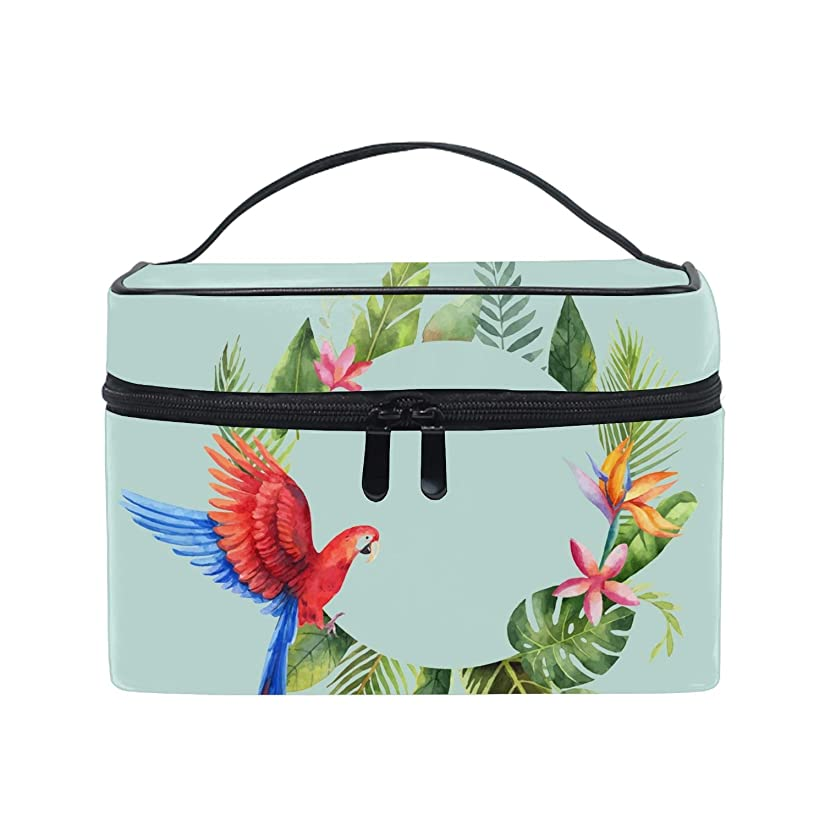 急速なロードブロッキング程度Watercolor Red Parrotトイレタリーバッグ トラベルポーチ 洗面用具入れ 化粧ポーチ バスルームポーチ マジックテープ フック付き