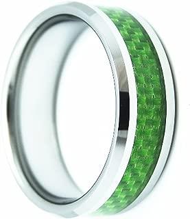 NYBUCHI Mens 8MM Green Carbon Fiber Inlay Tungsten Carbide Ring High Polished Wedding Band