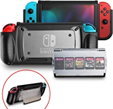 Case for Nintendo Switch, Grip Cover with 5+2 Storage Slots for Game Cards, Multi-Angle Adjustable Stand, Portable Cover w...