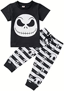 2Pcs Toddler Kids Baby Boys Girls Halloween Outfits Long Sleeve Nightmare T-Shirt Tops Skull Pants Clothes Set