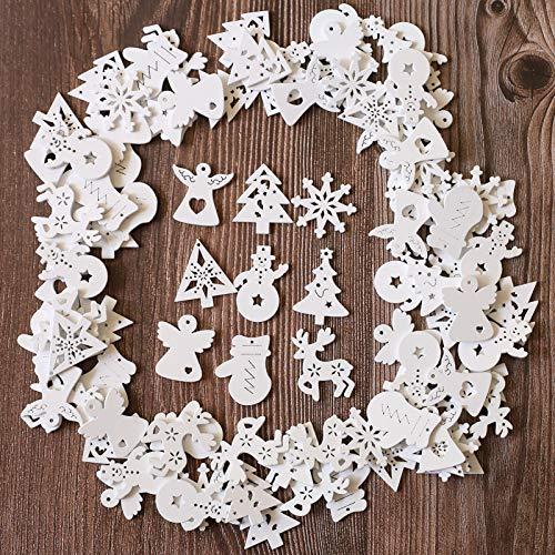 ToBeIT Weihnachten Mini Holzdeko ca.100pcs Weihnachtsdeko Christbaumanhänger Mini Schneeflocken weihnachtsmann Holzscheiben Streudeko für DIY Basteln Weihnachten (Weiss/weihnachte9)