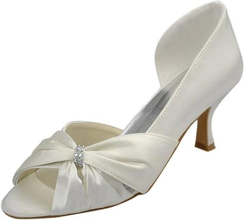 ZHRUI Sandalias de la Boda del Partido Formal del satén Elegante de Bowknot de Las damenes de Las Muchachas (Farbe   Ivory-6.5cm Heel, tamaño   6 UK)