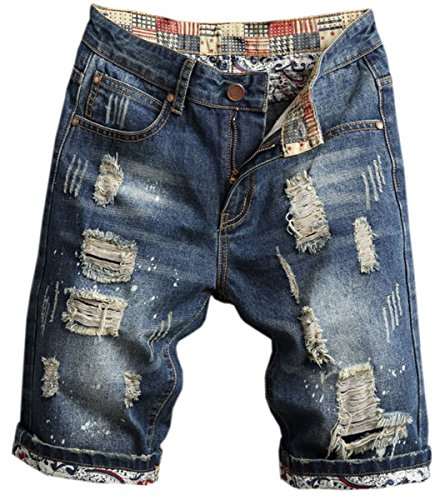 Men's Ripped Shorts, Destroyed Distressed Ripped Denim Short Pants Short Jeans Shorts for Men, 3# Dark Blue, US 36