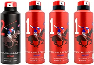AmazedDeal Beverly Hills Polo Club One No.2 & Three No.1 Deodorant For Men(Pack of 4)Combo Pack