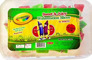 Bebeto Crayola Gummies Big Value 1 lb! Choose From Peach Rings, Watermelon Slices or Rainbow Belts! No High Fructose Syrup & Peanut Free! Chewy Sweet & Sour Gummy! (Watermelon)