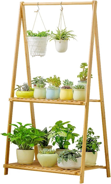 SLH 2-Layer Floor-Standing Folding Flower Shelf Simple Balcony Indoor Living Room Potted Rack