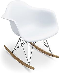 Supertrends Sedia a dondolo - RAR Style - Stile Scandinavo - Bianco - 69.9 cm x 63 cm x 69 cm - SANTANI MOBILI