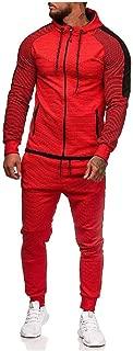 Mogogo Men's Stripe 2 Piece Set Plus-Size Zip Sports Tracksuit Outfit
