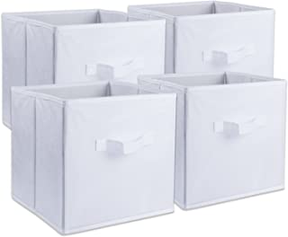 DII Foldable Fabric Storage Containers for Nurseries, Offices, Closets, Home Décor, Cube Organizers & Everyday Use, 11 x 11 x 11 White - Set of 4, Small (4),