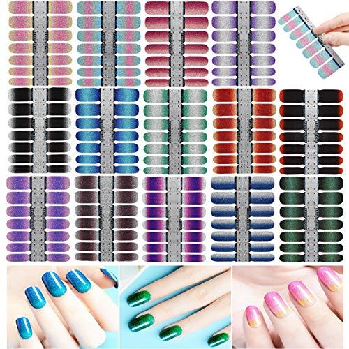 14 Blatt 196pcs Nagelfolie, Glitzer Nagelsticker Selbstklebend Nagelkunst Aufkleber, Gradient Nagelaufkleber DIY Nageldeko für Maniküre