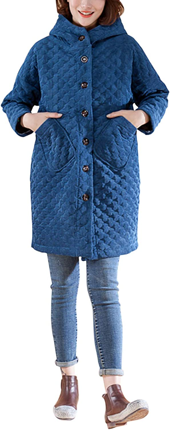 Yimoon Women's Hooded Quilted Mid-Length Corduroy Jacket