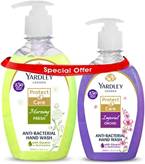 Yardley Antibacterial Handwash With 100% Germ Protection, 500 ml + 250 ml Pack (Morning Fresh + Imperial Orchid)