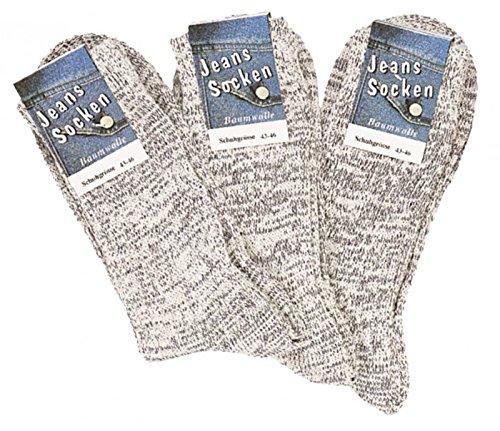 6 Paar Socken im original Jeans-Style natur-jeansmelange CH-6156 (39-42)