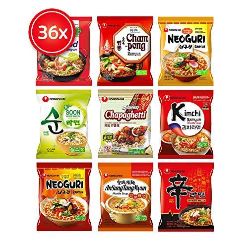 Guksu-Box mit 36x Nong Shim Spezialitäten - Ausgewählter Mix aus 9 Ramen Sorten - Korea Instant-Nudeln Geschenkbox