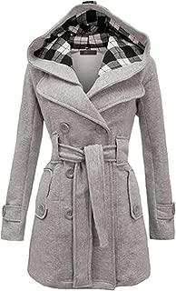 OMZIN Women's Autumn Winter Double Plus Size Coat Mid Length Outwear Trench