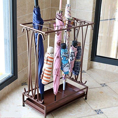 Porte-parapluies Fer Art Parapluie Hôtel Sol-Debout Rain Gear Solide et Durable 17 * 9 * 24 Pouces 15 Trous et 16 Crochets