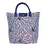 Signare Tapestry Foldable Tote Bag Reusable Shopping Bag Grocery Bag with Blossom and Swallow Design