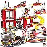 New Zaccit Building Blocks Fire Station City Coastline Emergency Rescue Team,Toy Bucket Car Truck Helicopter Building Blocks Models Creative DIY Construction Toys 971 PCS