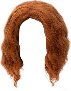 The Avengers Black Widow Natasha Costume Cosplay Wig Short Wavy Fluffy Hair Orange