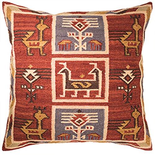 Indian Arts Birdsong Kilim Funda de cojín de Comercio Justo Hecha a Mano con Lana 80/20 y tintes Naturales, 20% algodón/algodón/Lana, 45x45