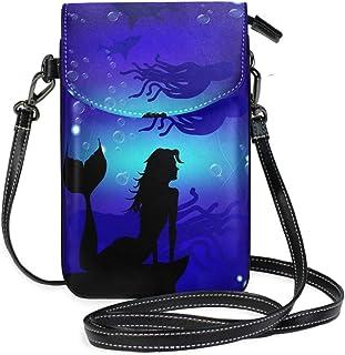ZZKKO Ozean, Meerjungfrau, Oktopus, Mini-Umhängetasche, Handtasche, Leder, für Damen, lässig, täglich, Reisen, Wandern, Ca...