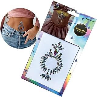 Self-adhesive Rainbow Clear Rhinestone Belly Button Body Jewelry Temporary Sticker
