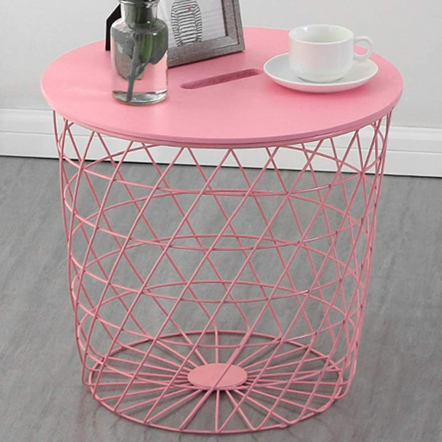 Nightstand Side Table, Iron Art Multifunction Practical Side Table Modern Sofa Side Simple Small Round Table Bedroom Bedside Storage Basket End Table (color   Pink)
