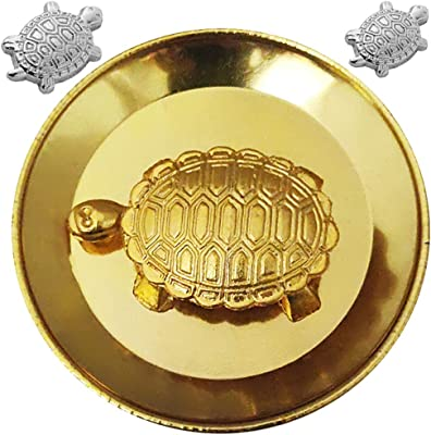Divya Mantra Japanese Lucky Charm Money Turtle Pair Home Decor Statue & Chinese Feng Shui Metal 1.5 Inch Tortoise with 2.25 Inch Water Plate; Vastu Living, Wealth, Health, Good Luck Set -Gold, Silver