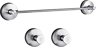 """JOMOLA 3PCS Vacuum Suction Cup Bathroom Accessory Set with 17"""" Shower Towel Bar Rack, 2 x Hand Towel Hooks Holder Removable Kitchen Utensil Storage Organizer Stainless Steel Brushed Finish"""