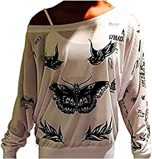 Harry Styles Update Tattoo 1D One Direction Boy Band Off- The Shoulder Long Sleeve T- Shirt