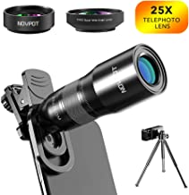 Phone Camera Lens, NOVPOT Pro Phone Lens Kit, 25X Zoom Telephoto Lens, 0.45X Wide Angle Lens & 15X Macro Lens Compatible with iPhone,iPad,Most Android Phones and Smartphones with Tripod