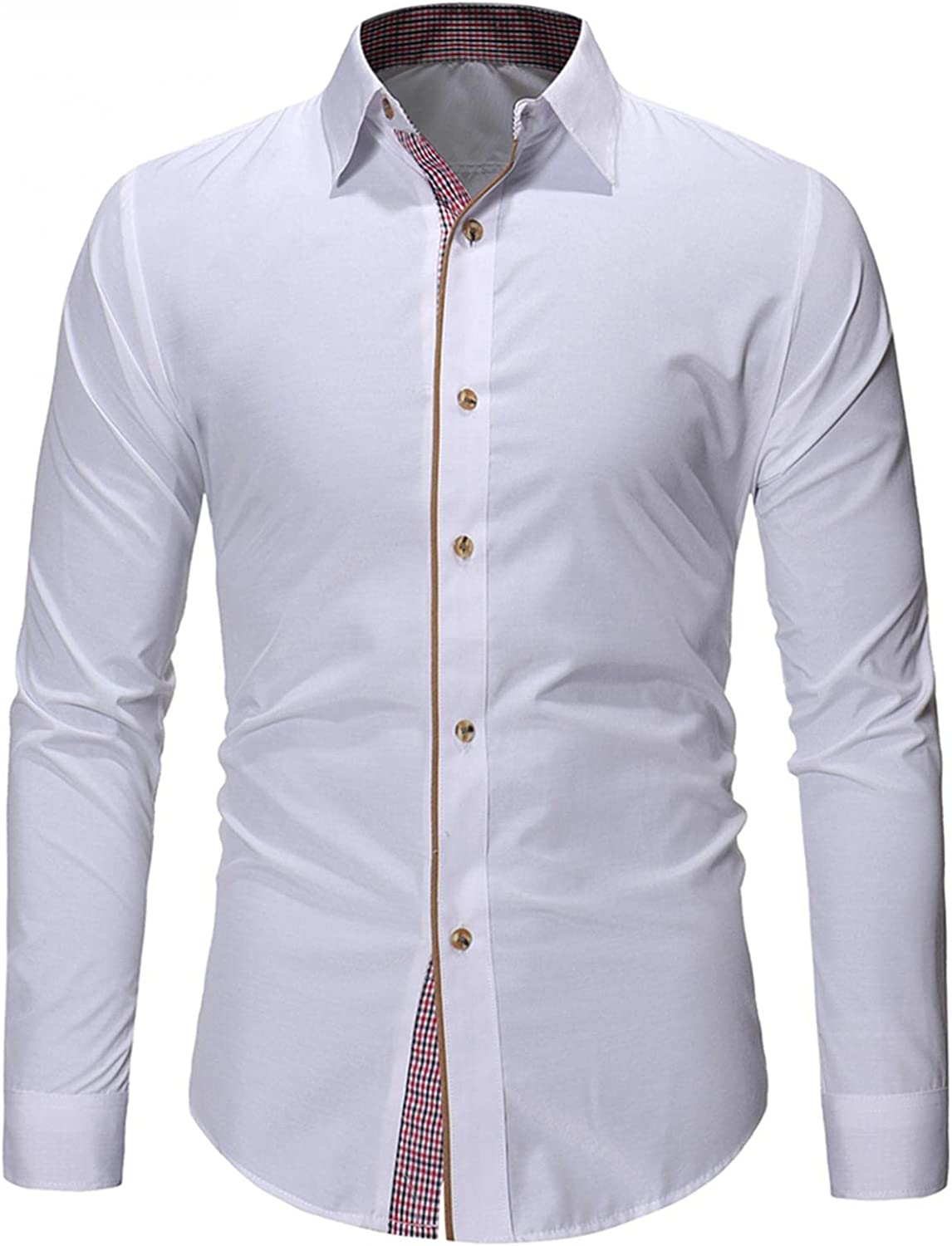 KEEYO Mens Slim Fit Dress Shirts Long Sleeve Business Work Casual Wrinkle-Free Poplin Button Down Cotton Shirts Tops