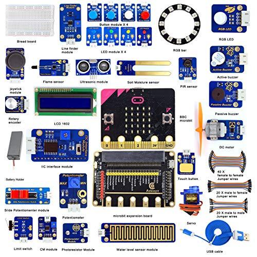 Adeept Microbit Sensor Starter Kit para BBC | Micro:bit programable Starter Kit para Micro:bit con 35 proyectos PDF Tutoriales Book | Micro:bit y placa de expansión incluida