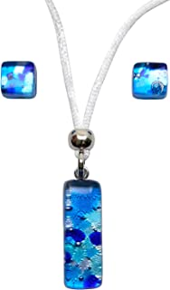 Murano Glass Set of Stick Pendant and Earrings (Blue)