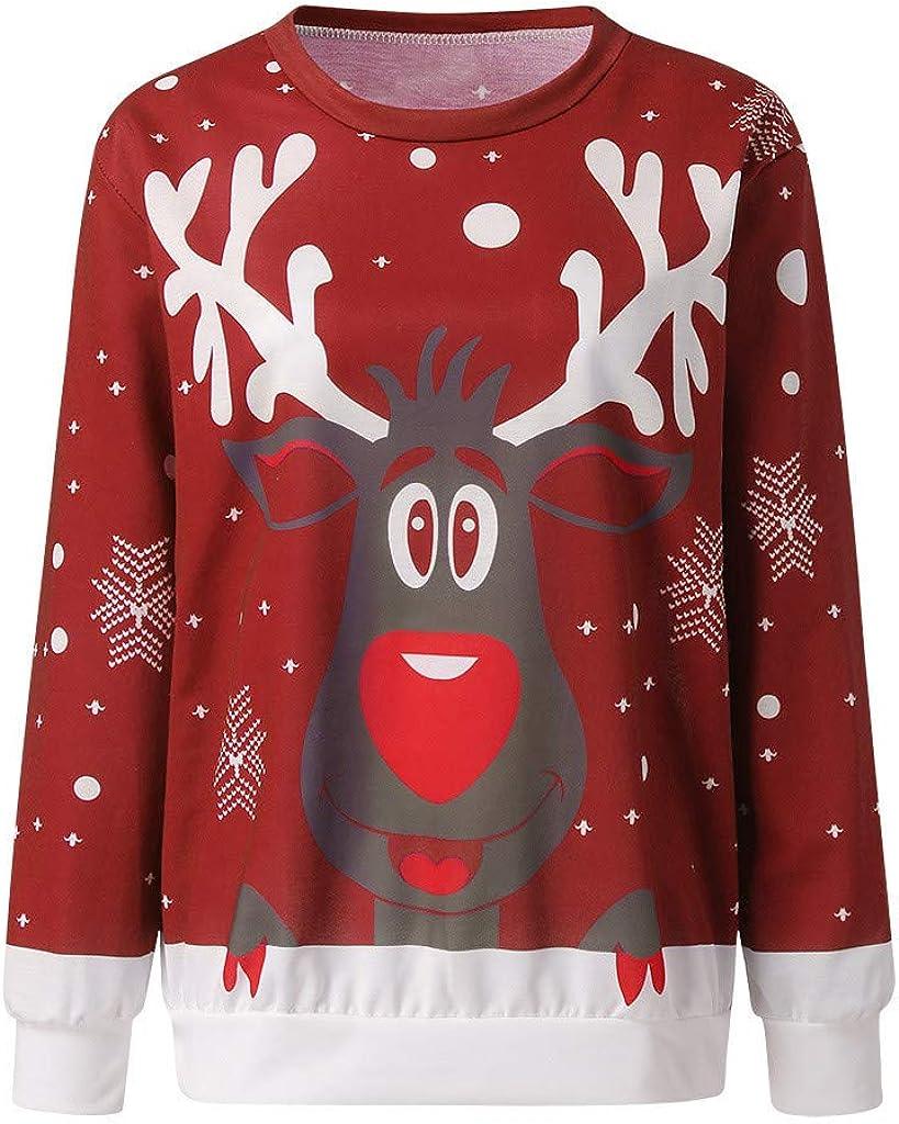 VEKDONE Women Casual Light Christmas Elk Printed Long Sleeve Graphic Pullover Sweatshirt Tee Shirt Tops