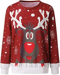 Mujer Sudaderas Navidad Jersey Casual Camisa Navideña Estampada de Reno Blusa Cómodo Pullover Caliente Suéter Ropa de Invi...
