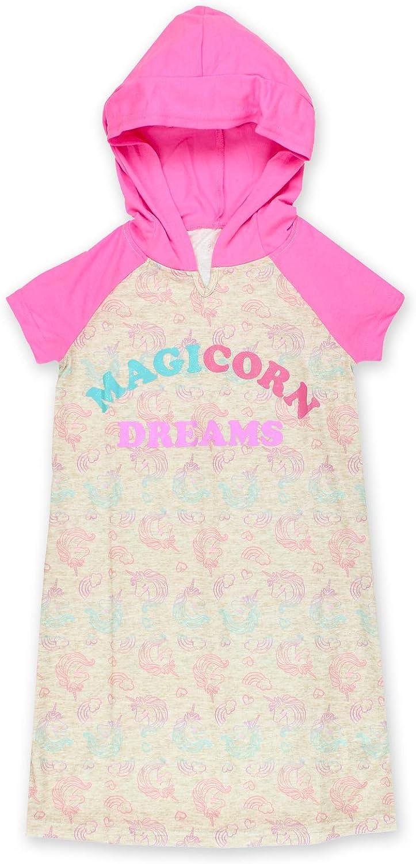 Komar Kids Unicorn Girl's Short Sleeve Hooded Jersey Nightgown Pajamas (X-Small / 4-5, Pink/Multi)