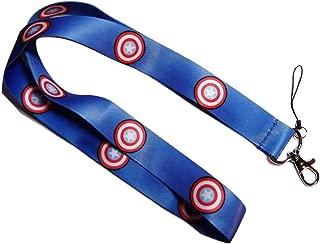Captain America Repeat Shield Blue Lanyard Id Holder Keychain