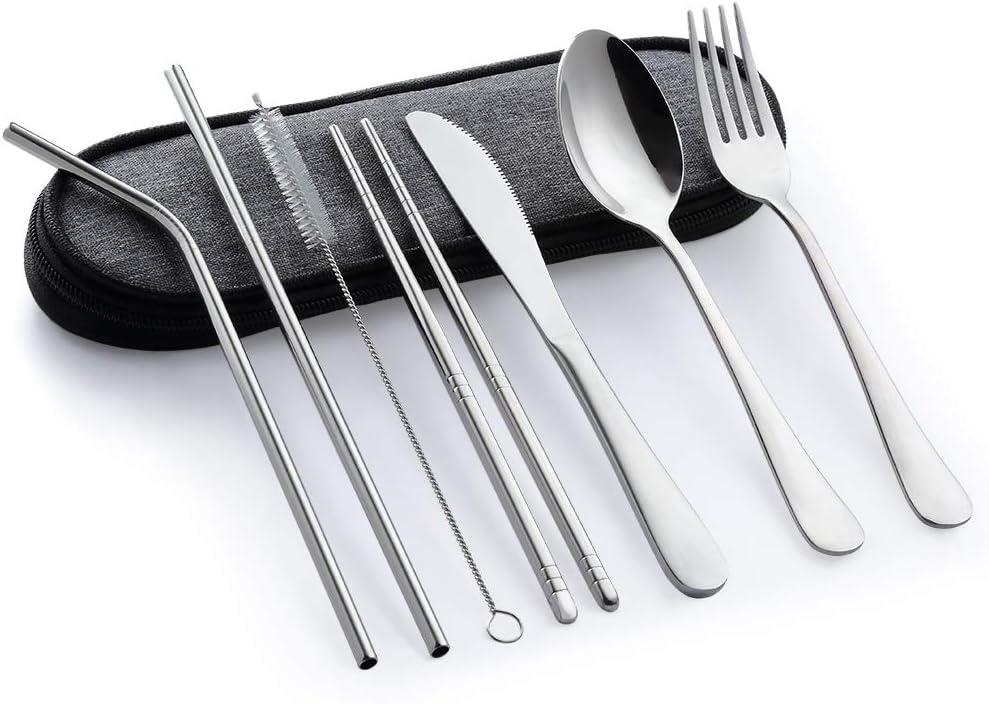 Dinnerware Set Travel Camping Cutlery Reusable Silverware Fork Chopsticks Case