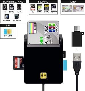 YMJOGGUE 接触型ICカードリーダーライタ マイナンバー対応 多機能 USB接続(国税電子申告・納税システムe-Tax、地方税電子手続き等)CAC/SD/Micro SD (TF)/SIMスマートカードリーダーにも対応 USB Type ...