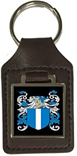 Mcbrayer Family Crest Surname Coat Of Arms Brown Leather Keyring Engraved