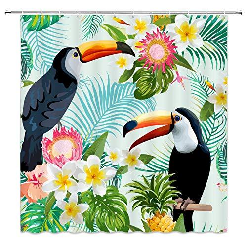 Duschvorhang 3D drucken Tukan Duschvorhang Grünes Blatt Weiße Blume Tropische Pflanzen Vogel Badezimmer Dekor Home Badewanne Wasserdichter Polyester Duschvorhang 180x180cm