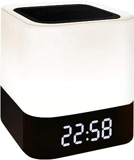 Leeofty Luz Nocturna Altavoz Reloj Despertador Digital Lámpara de mesita de Noche con Ajuste de Brillo de 7 Colores 3 BT/Disco Flash USB/Soporte TF Lámpara de Mesa cambiante Multicolor