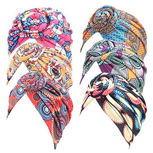 Afrikanischer Kopftuch, Blumenturbane für Frauen, vorgebundene Mütze, Kopfbedeckung, Knoten, Kopfbedeckungen für Frauen - Schwarz - Einheitsgröße