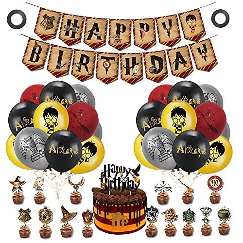 Decoración Harry Potter Cumpleaños Globos Feliz Cumpleaños Pancarta Wizard Decoración de Tartas para Niños Mago Cumpleaños Fiesta Decoracion Temática
