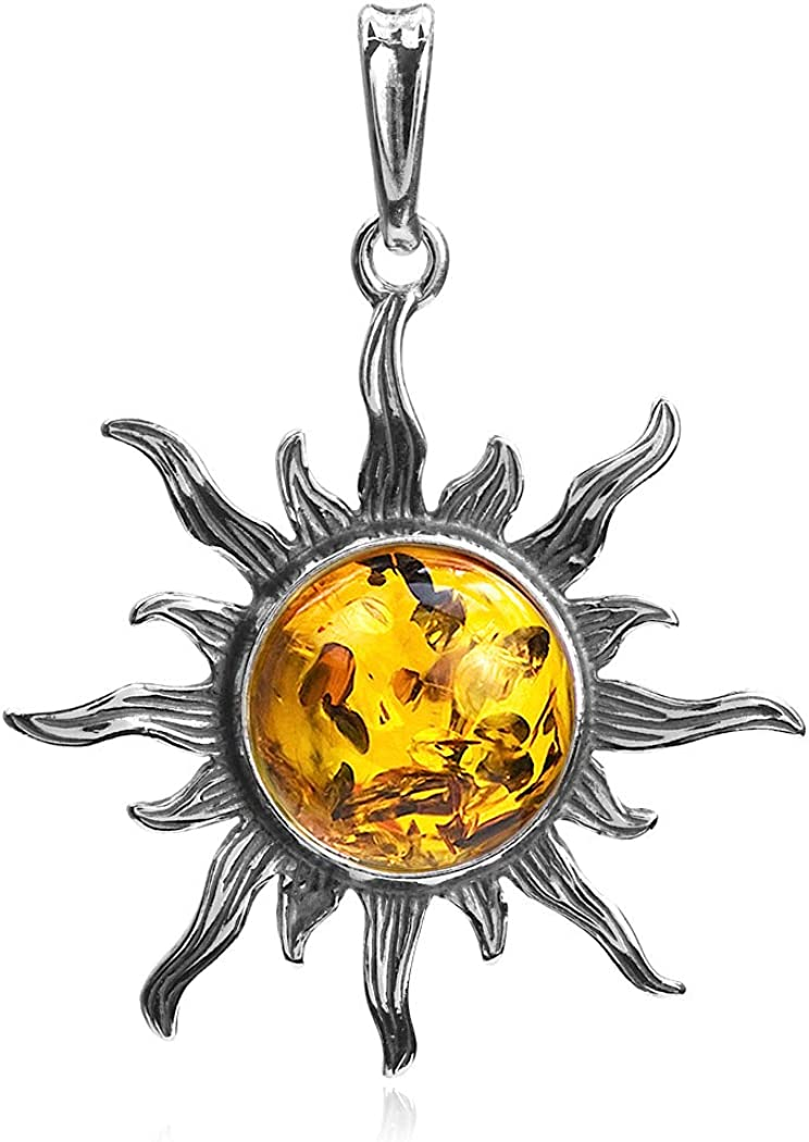 Honey Amber Sterling Challenge the lowest price Max 52% OFF of Japan Silver Medium Sun Pendant