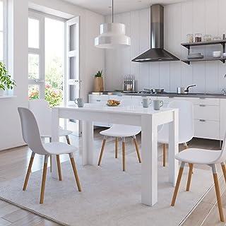 SKM Table de Salle à Manger Blanc Brillant 120x60x76 cm Aggloméré-438