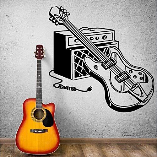 Gtfzjb Muursticker E-gitaar Muurtattoos Rock Pop muziek Muurkunst Muurschildering Home muziek decor muziekinstrument gitaar sticker AY915 57x57cm